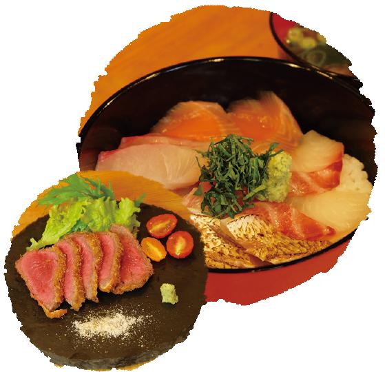 海鮮丼と和牛のレアカツ